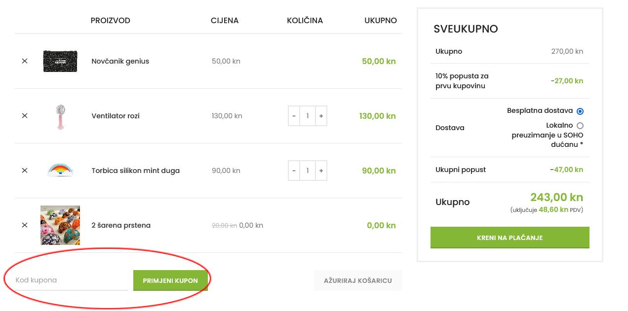 Gdje unijeti kupon kod - SOHO Webshop